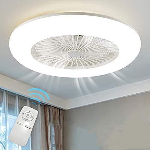H.W.S Deckenventilator Mit Beleuchtung LED Fan Deckenleuchte Einstellbare 3 Windgeschwindigkeit Dimmbar Mit Fernbedienung 36W Moderne Für Schlafzimmer Wohnzimmer Esszimmer,Weiß