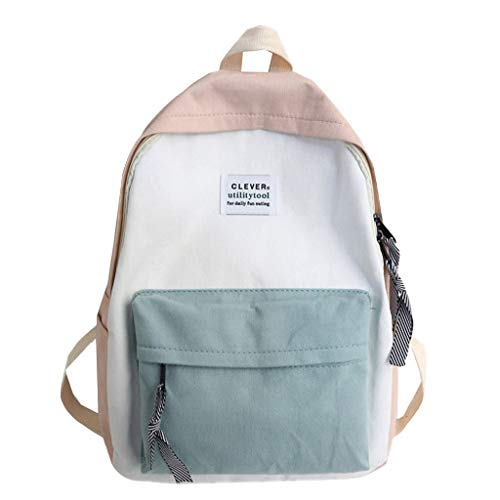 FossenStu Bolsas Escolares Juveniles Niña Clásico - Estilo Japonés Mochila Escolar, Simple Estilo Europeo, Popular Versión Coreana - Bolsa para/Mujeres/Estudiantes/Viajes (Rosado-Clever)