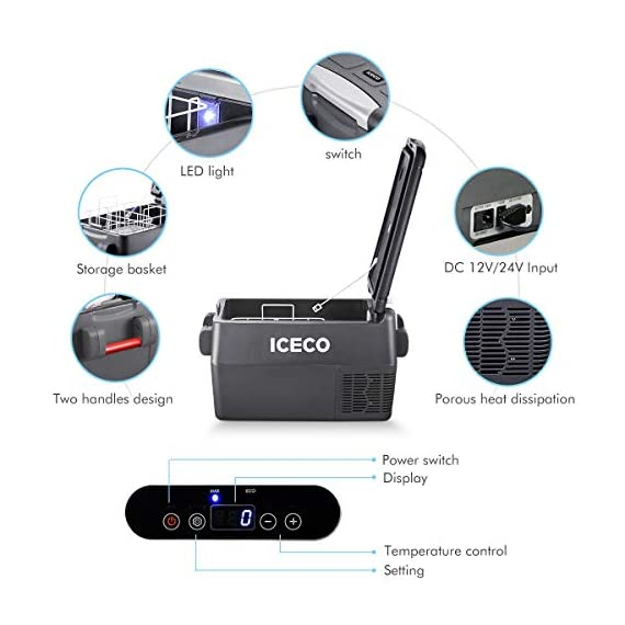 ICECO JP30 Portable Refrigerator, 12V Car Fridge Freezer, 31 Liters Compact Refrigerator with Secop Compressor, for Car… 5 ※ 【FREE PARTS】- Insulated Protective Cover & 12 Feet-Long Extend DC Power Cable. ※ 【MAX & ECO MODE】- This function allows the compressor speed to be slowed down to increase operational efficiencies(ECO) or increase the compressor speed to provide ''quick'' cooldown times(MAX). ※ 【NO ICE NEEDED】- Adjustable Temperature From -7℉~50℉(-22℃~+10℃). How Danfoss compressor works: for the purpose of saving energy, the compressor will stop operating when the freezer up to the set temperature and the compressor will restart to operating when the temperature in the box has risen 6℉-9℉.