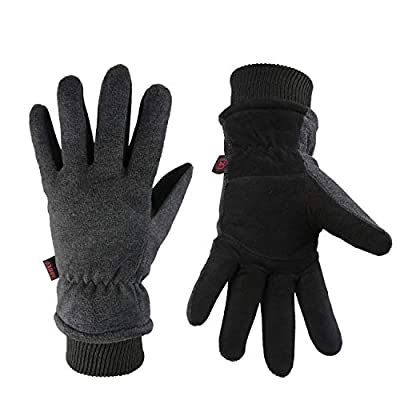 OZERO Winter Gloves Coldproof Snow Work Ski Glove - Deerskin Leather Palm & Polar Fleece Back with Insulated Lining - Windproof Water-resistant Warm hands in Cold Weather for Women Men - Gray(L)