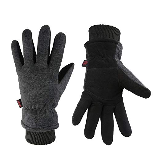 Winter Ski Gloves Cold Proof Insulated Work Glove for Driving Cycling Hiking Snow Skiing - Deerskin Suede Leather Warm Polar Fleece Waterproof Windproof Hand Warmer for Men and Women Grey-Black Small