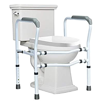 Giantex Toilet Safety Rail Free Standing Safety Assist Frame W/ 360°Rotatable Clip,Adjustable Height & Width Toilet Armrest, 300 LBS Weight Capacity for Disable Elderly Commode Stability Handrails from Giantex