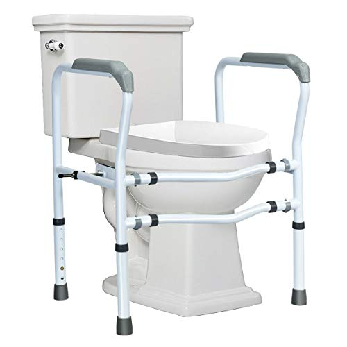 Giantex Toilet Safety Rail Free Standing Safety Assist Frame W/ 360°Rotatable Clip,Adjustable Height & Width Toilet Armrest, 300 LBS Weight Capacity...