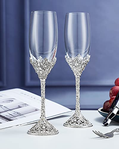 Champagne Flutes - Crystal Champagne Glasses Metal Base With Crystal Stones, Set of 2 Toasting Flute Pair, Wedding Anniversary Party Birthday Banquets and Gifts for Bride and Groom7oz
