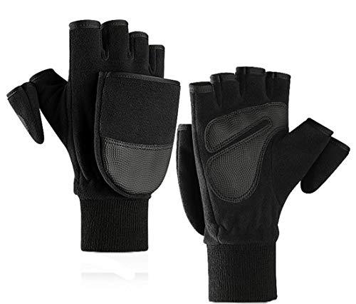 Herren Winter-Fäustlinge Stretch Fingerlose Handschuhe Flip-Warm - mehrfarbig - XL