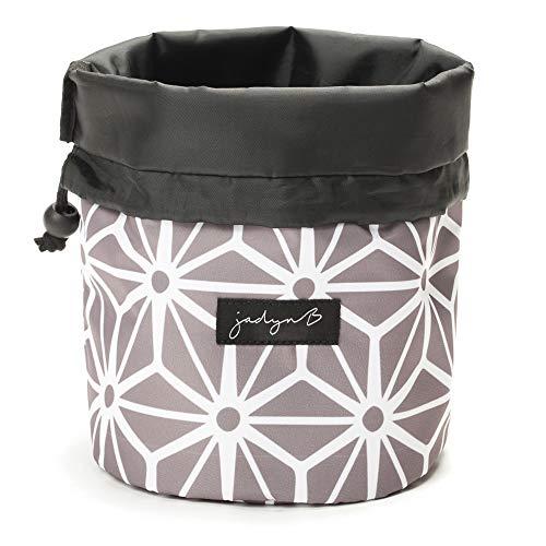 Jadyn B Cinch Top Compact Travel Makeup Bag and Cosmetic Organizer for Women (Geometric Gray)