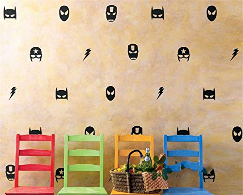 Batman Muursticker Marvel Masker van Ironman Batman Spiderman Boys kinderkamer slaapkamer decoratie DIY Room Decor met 28 stuks