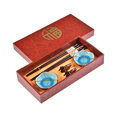 Quantum Abacus Pregiato Set di Bacchette Primavera Cinese 2 Bacchette cesellate in Legno, 2 poggiabacchette, 2 Ciotole in Ceramica, in Confezione Regalo, MOD. I_S2-B-W-02
