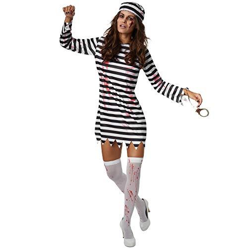 dressforfun 900440 - Costume Donna Adulti Spaventosa Sposa Carcerata, Abito a Righe in Bianco e Nero (XL   No. 302263)