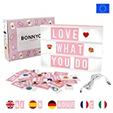 Light Box Rose avec 105 Lettres, 60 Emojis et USB - BONNYCO | Ç Inclus | Boite...