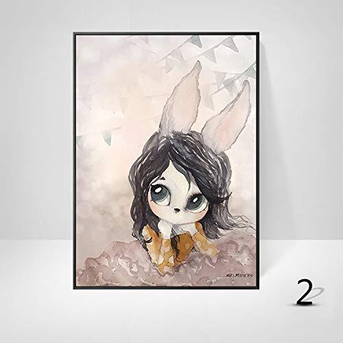 WSNDGWS Cartoon dier decoratieve schilderij kunst konijn meisje Scandinavische schattige wind slaapkamer opknoping foto zonder fotolijst 40x60cm B4