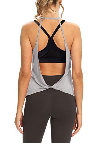 Mippo - Camiseta sin mangas para mujer con espalda abierta y cuello alto, Suave, M, Gris