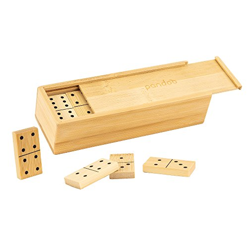 pandoo Juego de dominó doble de bambú, juego de mesa con 28 piedras de dominó, juego de sociedad adecuado para toda la familia
