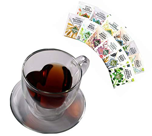 Tee GESCHENKSET: 350ML DOPPELWANDIGE Herzform-GLASTASSE + 12x Bio-Tee, Herztasse + 12x Verschiedene Bio Teebeutel - by Feelino