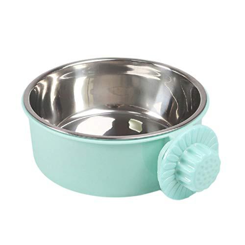 POPETPOP ペットボウル ハンガー 固定 ゲージ用 ペット食器 餌入れ ヘルスウォーターボウル 猫 犬 うさぎ 小動物用 食器 (グリーンL)