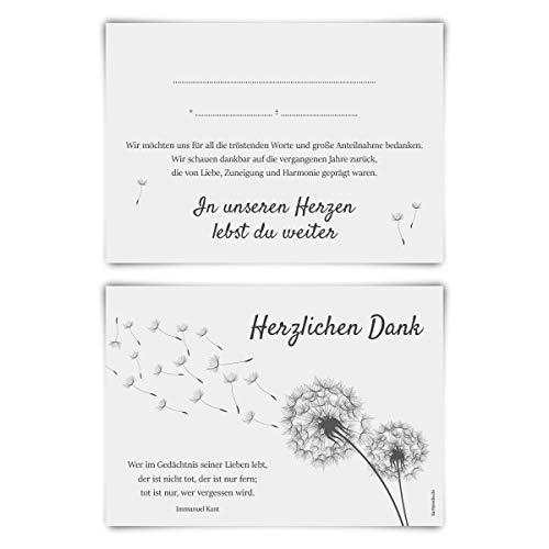 Trauerkarten Trauer Danksagungen 12 Stück Karten Set - Pusteblume Vorausgefüllt