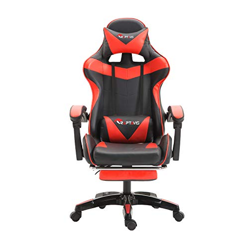 Computer Game, Streaming, Gaming Chair Office Chair Ergonomic Backrest and Headrest, Swivel Recliner with Lumbar Support, Height Adjustment Racing Chair (Red)