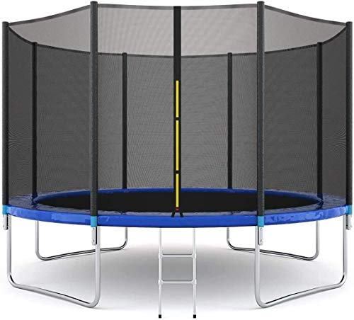 12 FT Trampoline for Kids with Safety Enclosure Net Weight Capacity Outdoor Trampolines with...