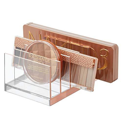 mDesign Porta Trucchi in plastica – Organizer per Cosmetici con 5 Scomparti – Contenitore per Make-up per Bagno o Camera da Letto – Trasparente