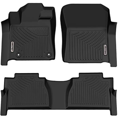 oEdRo Floor Mats Compatible for Toyota Tundra 2014-2020 Double Cab/Crew Max Cab, Unique Black TPE All-Weather Guard Includes 1st and 2nd Row: Front, Rear, Full Set Liners