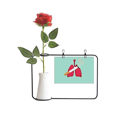OFFbb-USA Logo Daño De Cigarrillo El Pulmón Artificial Flor Colgando Floreros Decoración Botella