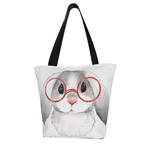 Little Bunny with Glasses Women Fashion Large Tote Shoulder Handbag Tote Bag Multi-Function Travel Shoulder