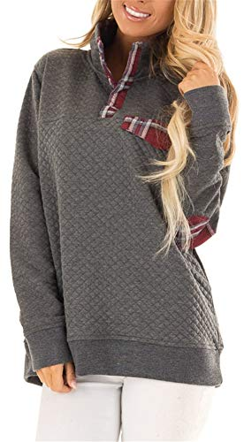 Women's Button Neck Quilted Pullover Sweatshirts Patchwork Elbow Patches Tops Outwear Grey