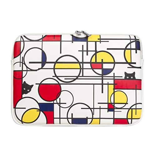 OZADE Piet Mondrian Style Laptoptasche aus PU-Leder für 13-13,3 MacBook Pro,MacBook Air,Surface Pro,Surface Laptop,Surface Book,Notebook,iPad,wasserdichte Tasche,Modegeschenk,Katze(Mondrian 4)