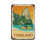 Thailand Retro-Reise-Poster, Blechschild, Vintage, Metall,
