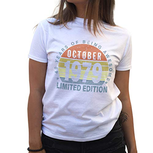 Limited Edition Vintage 1979 October Birthday 40 Years Jahre Gift Geburstag Camiseta de Mujer Blanca Size S