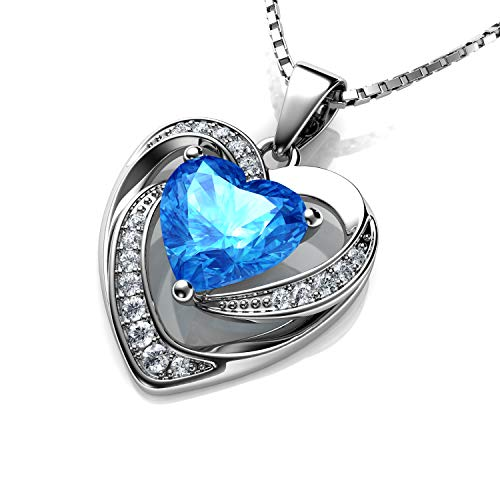 DEPHINI - Heart Necklace - 925 Sterling Silver - Aqua CZ Crystal Pendant - Fine Jewellery - 18' Premium Rhodium Plated Silver Chain - Cubic Zirconia - Gifts for Women