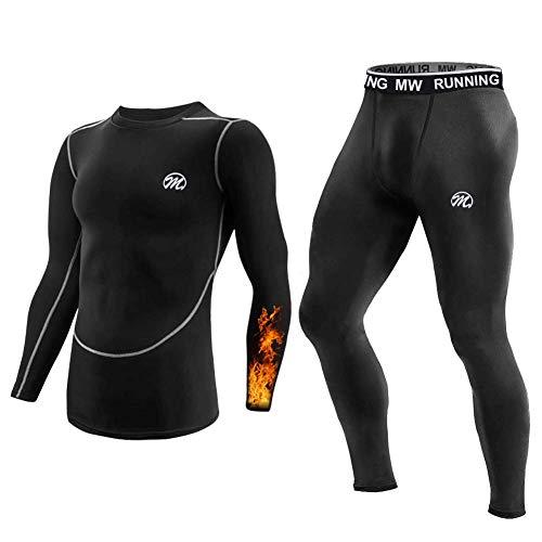MeetHoo Bielizna termiczna dla mężczyzn, bielizna funkcyjna, termoaktywna, bielizna narciarska, bielizna termoaktywna, bielizna bazowa, podkoszulek do biegania