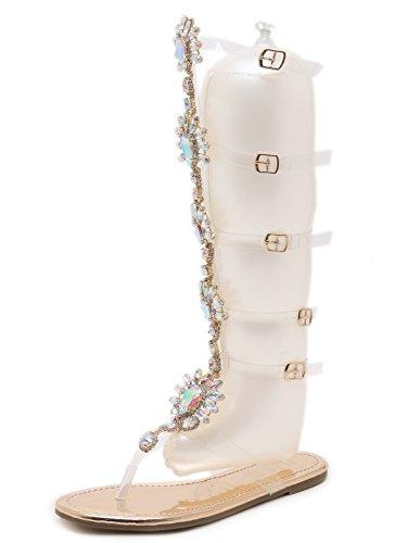 2018 TieNew Mujer Moda Gladiador Sandalias Romano Rodilla Alto Sandalias Cremallera Strappy Peep Toe Sandalias Plano Casual Playa Verano Zapatos Moda Botas Sandalias