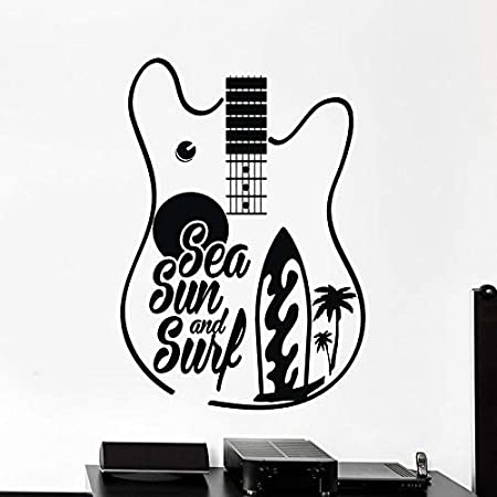Tatuajes de pared de guitarra surf surf bajo el mar sol palma puertas y ventanas ventanas de vinilo dormitorio adolescente estudio de música decoración de interiores