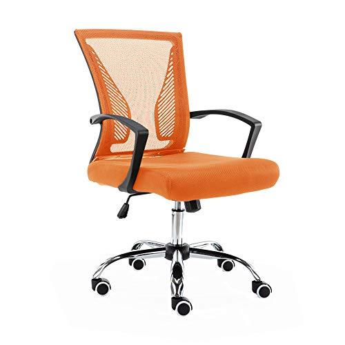 Modern Home Zuna Mid-Back Office Task Chair - Ergonomic Back Supporting Mesh Back Desk Chair (Black/Orange)