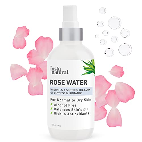 InstaNatural Rose Water Facial Toner for Face, Hair, Body - Natural Anti Aging Mist - Eau Fraiche - Alcohol Free - Hydrating Primer & Setting Spray for Pore Minimizing & Tightening - 4 OZ