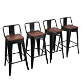 Yongchuang Metal Bar Stools Counter Height Stools Industrial Barstools Set of 4 (30', Matte Black Wood Top Low Back)