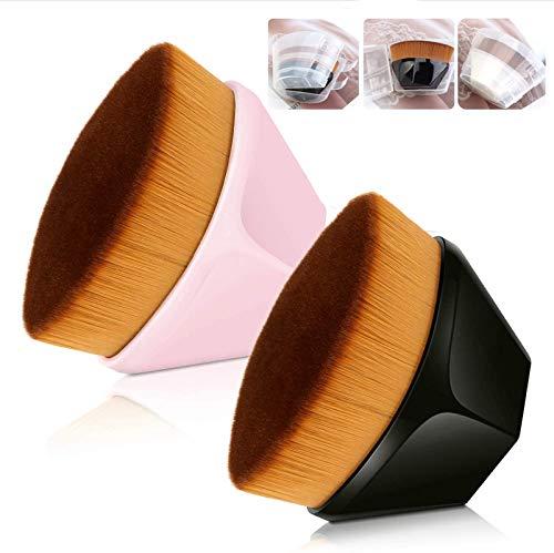 Foundation Pinsel, Make Up Pinsel Kabuki Flat Top Gesicht Pinsel Groove Design Blush Pinsel zum Flüssigkeit,Isolationsflüssigkeit, Concealer Premium (Schwarz +Pinke)