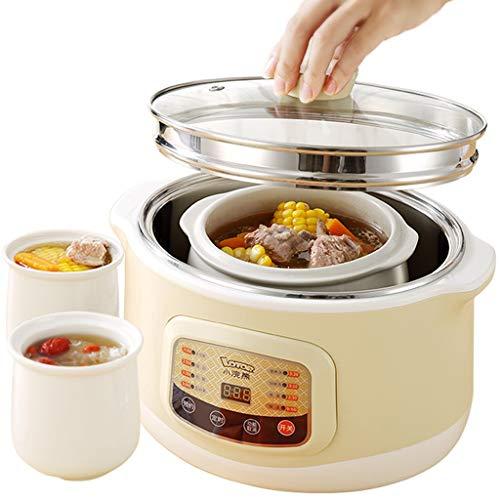 Slow Cooker Healthy Cooke, Keramik-Eintopfkochtopf, Dampfkocher mit 3 Keramik-Eintopf, 24-Stunden-Zeitschaltuhr, Reiskocher mit Glasdeckel