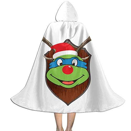 NUJSHF TMNT Leonardo Weihnachtsgeweih-Kopf Unisex Kinder Kapuzenumhang Cape Halloween Weihnachten Party Dekoration Rolle Cosplay Kostüme Outwear