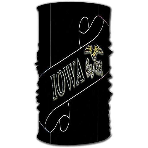 Copricapo ad asciugatura rapida Bandana magica come collo Ghetta Testa avvolgente Sciarpa Fascia Maschera pergamena Ultra elastica Testo Iowa Flag Stato Dettaglio Iowa Scroll