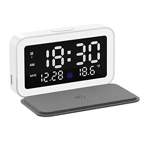 Milkvetch 6 en 1 15W Cargador InaláMbrico RáPido Base EstacióN LED Luz Nocturna Reloj Despertador Pantalla de Temperatura para Android iOS