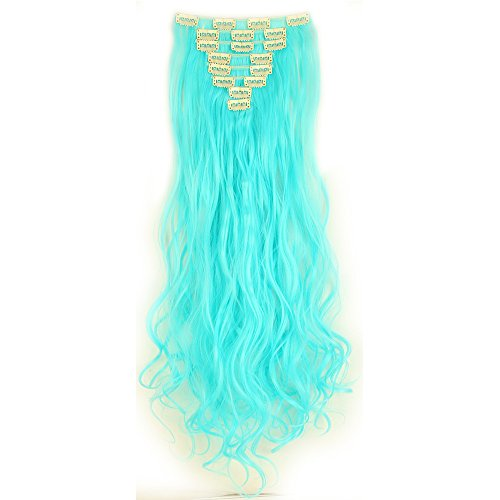 Clip in Extensions wie Echthaar Blau Haarteile 8 Tresssen günstig komplette Haarverlängerung Gewellt 24