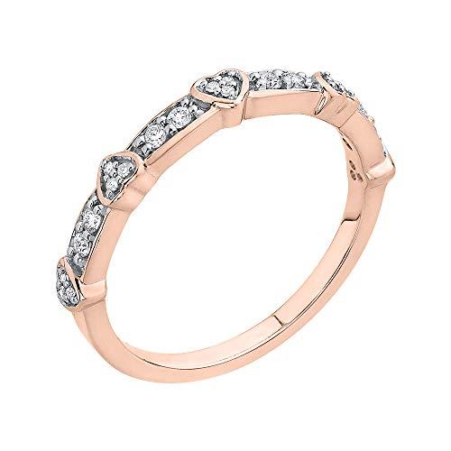 KATARINA Anillo de aniversario de corazón de diamantes en oro de 14 k (1/6 cttw, G-H, I2-I3)