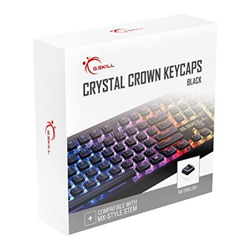 G.SKILL Crystal Crown Tastenkappen – Keycap Set mit transparenter Schicht für mechanische Tastaturen, volle 104 Tasten, Standard ANSI 104 Englisch (US) Layout – Schwarz