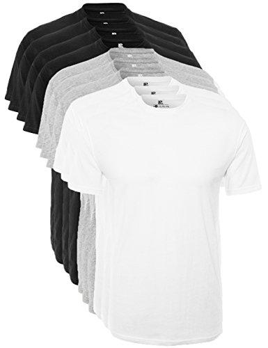 Lower East T-shirt à col ras du cou hommes, Lot de 5, Multicolore (noir/blanc/mélange gris clair), L