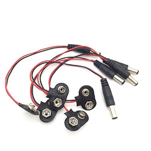 Ytian 5Pcs 2.1x5.5mm T Typ 9V Batterie Anschluss Kabel mit DC Stecker