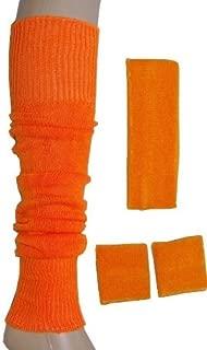 B&S Trendz Neon Sweatband/ Headband, 2 Wristbands & Legwarmers Set 1980s Fancy Dress Neon Orange by