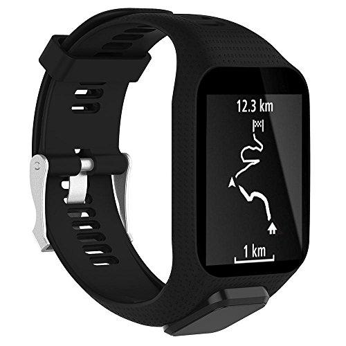 KOBWA TomTom Correa de reloj, correa de silicona de repuesto para TomTom Runner 2/Runner 3/Spark 3/Adventurer/Golfer 2 Deportes GPS Running Smartwatch, color negro