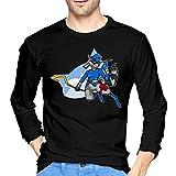 Sly Coo-Per - Camiseta de manga larga para hombre, estilo informal, 100% algodón, cuello redondo, cómodo, camiseta de moda, Negro, S